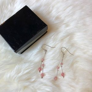 Dainty Silver earrings with pink gems